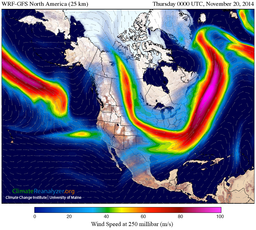 The jet stream. Big area of weakness over us.. huge dip into the southeast US.