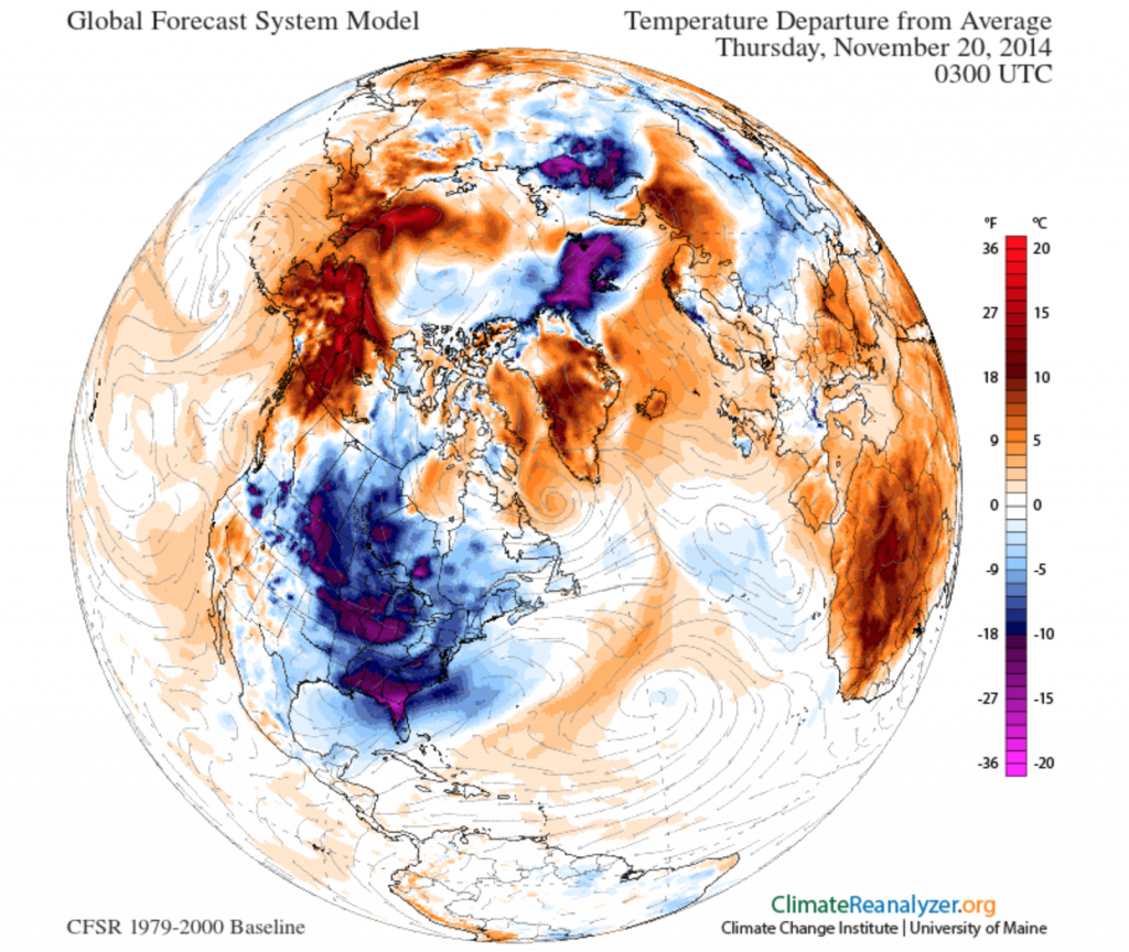 North Hemisphere Temperature Anomaly map for November 20 shows huge area of below normal temperatures stretching from the Northern Prairies to Southern Florida with Alaska and Yukon balancing it out with warm temperatures.