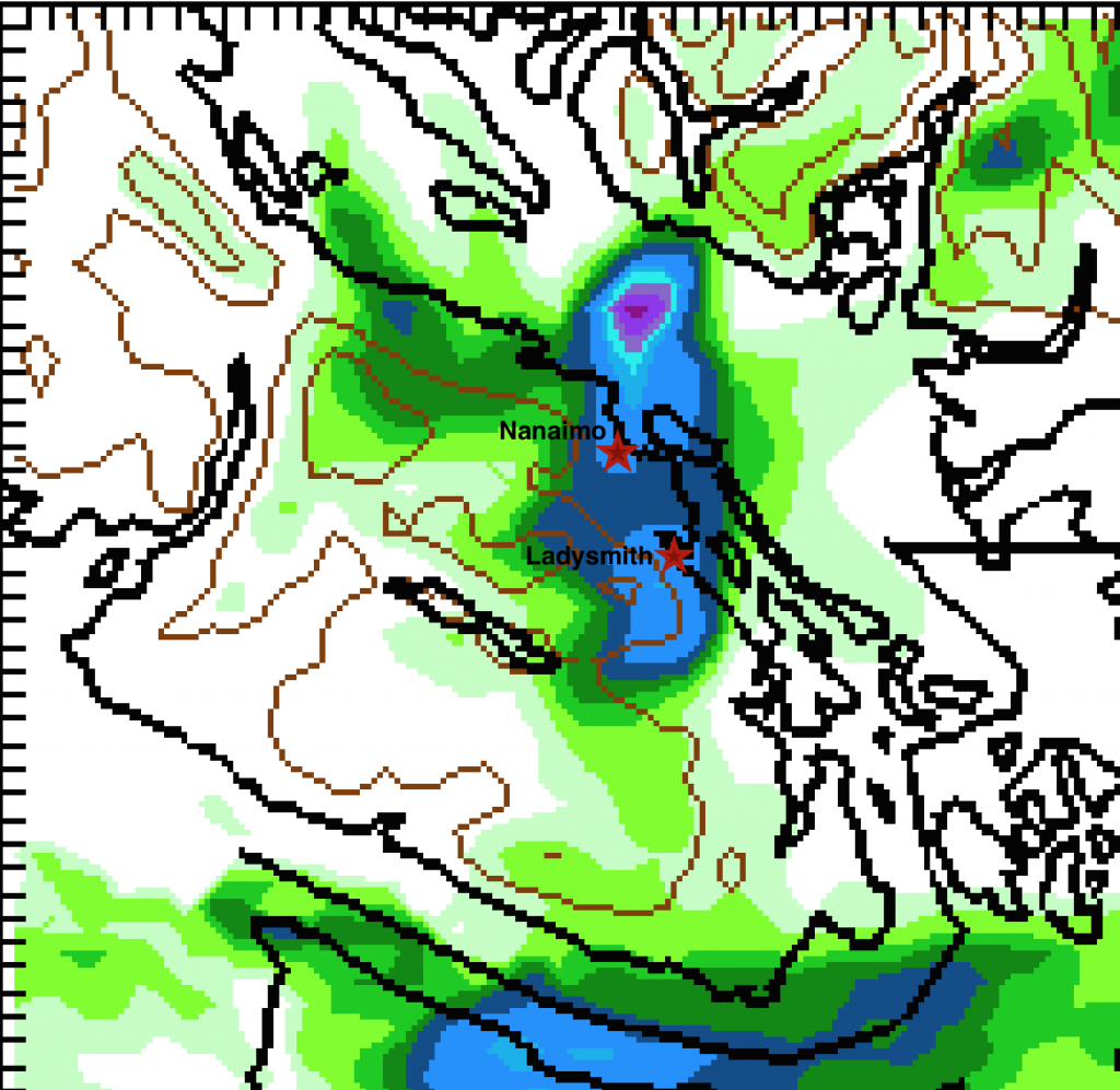 Snowfall Amount 4PM-4PM Friday/Saturday.  Centred in Nanaimo/Ladysmith areas