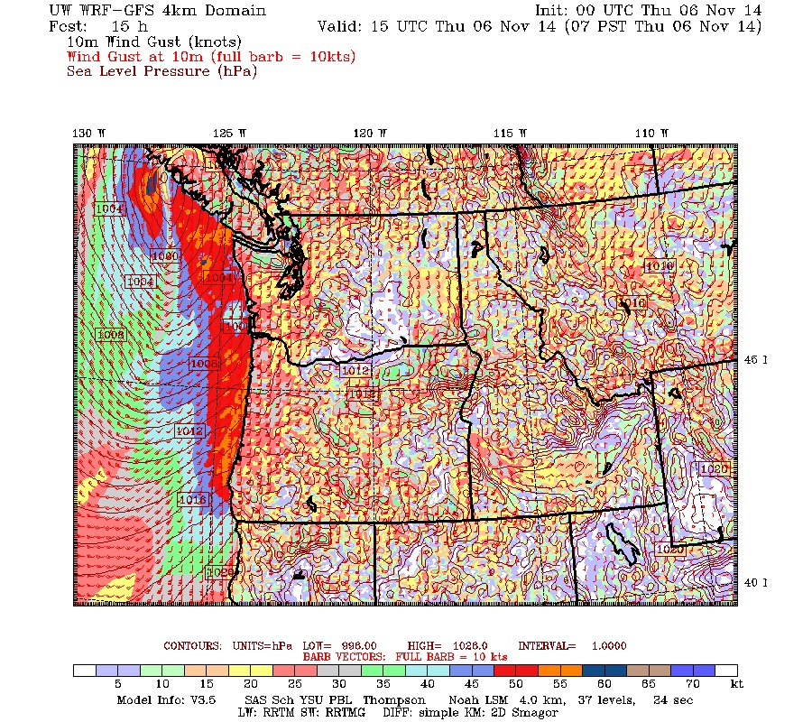 7AM wind gust model shows the low making landfall and spreading high winds across southwest Vancouver Island