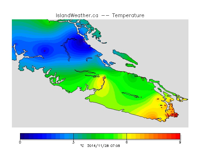 You can see the front pass on the temperature map at islandweather.ca as well.  Cold coming down from the north.