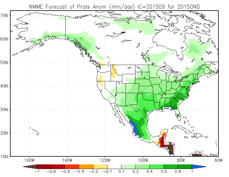 This Month's October, November December Precipitation Anomaly Forecast