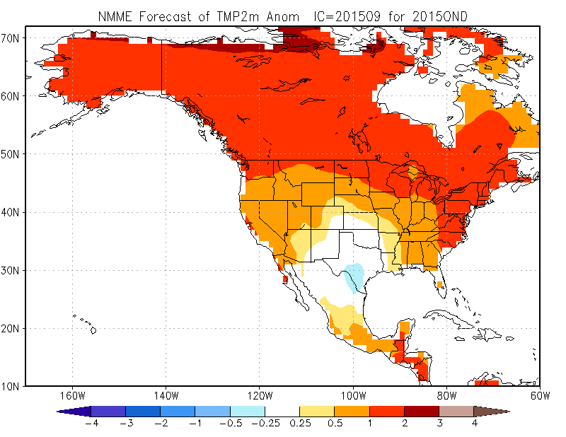 This Month's October, November December Temperature Anomaly Forecast