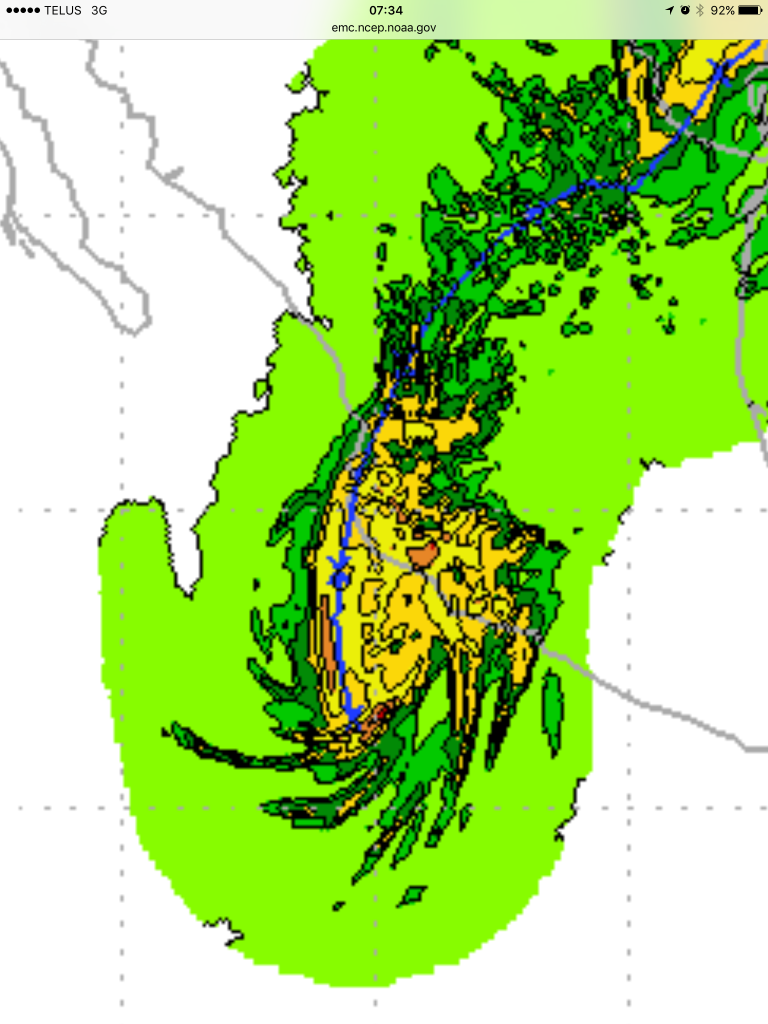 Rainfall modelling has 4-8in of rain falling in PV area, more in mountains.