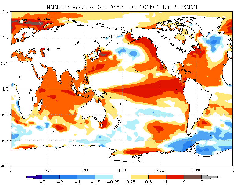January 2016 forecast of Spring (June, July, August) Sea Surface Anomalies.