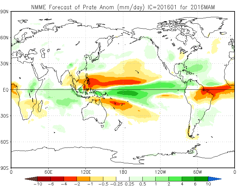 Spring (March, April, May) Precip current month forecast