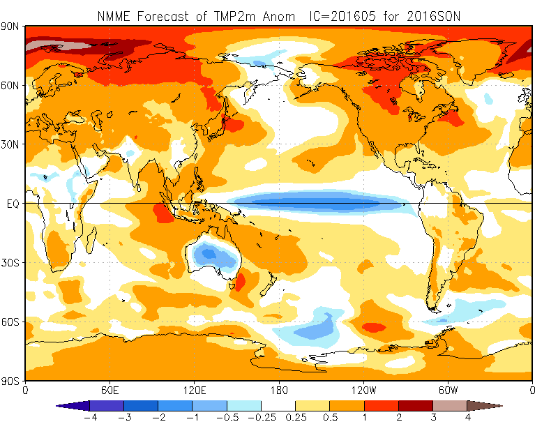 Fall (September, October, November) Temperature current month forecast