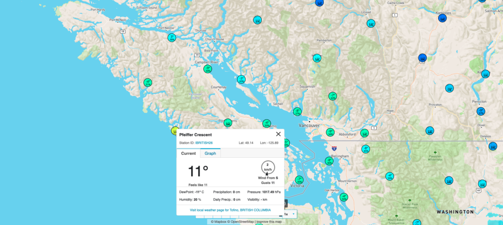 Tofino Canada Map.The Driest And Warmest Place In Canada Today Is Tofino