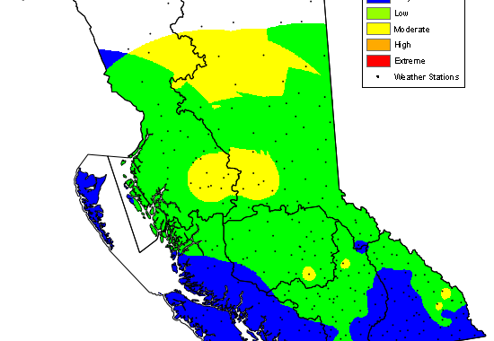 """BC Wildfire does away with """"Fog Zone"""" on Vancouver Island. Rain Wednesday."""