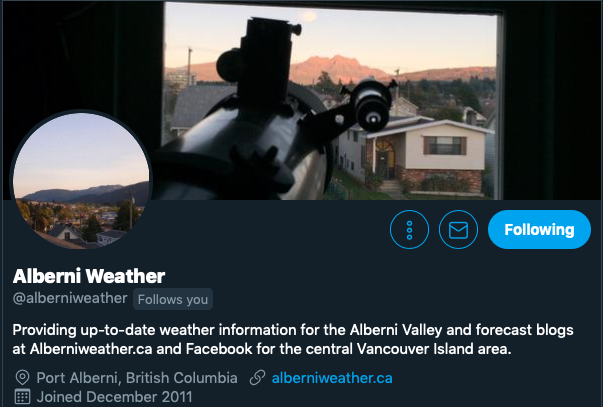 Link to Alberniweather on Twitter