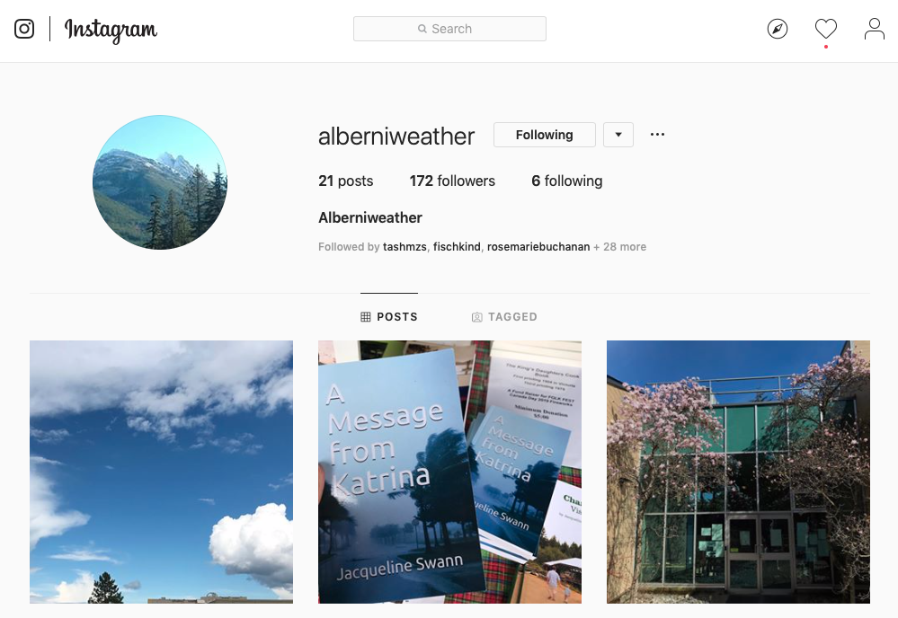 Link to Alberniweather on Instagram
