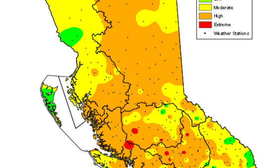 Final hottest days – Over 40°C – Possible hottest Port Alberni days ever recorded. Heatwave breaks Tuesday. Water Restrictions. Extreme Fire Danger.