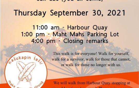 National Day of Truth and Reconciliation – mostly dry but keep umbrella handy for the Walk.